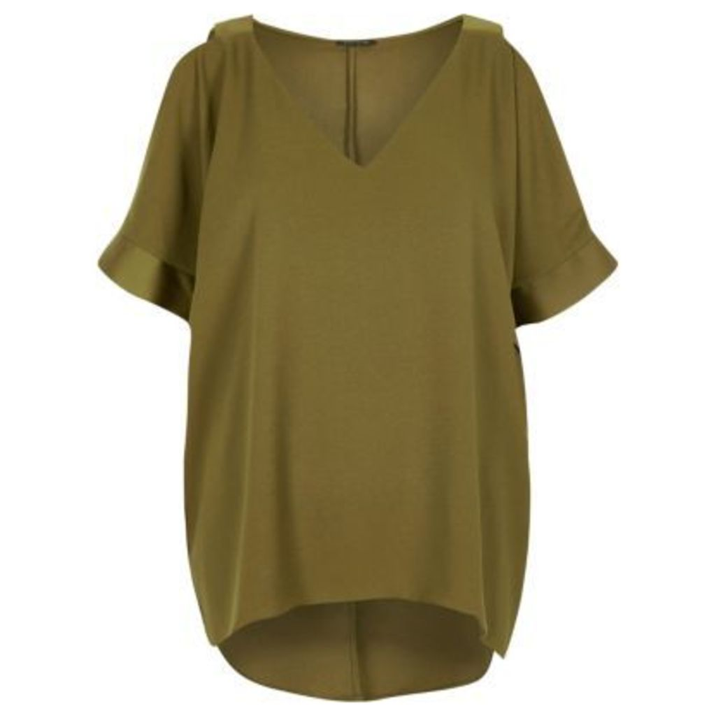 River Island Womens Khaki green cold shoulder T-shirt