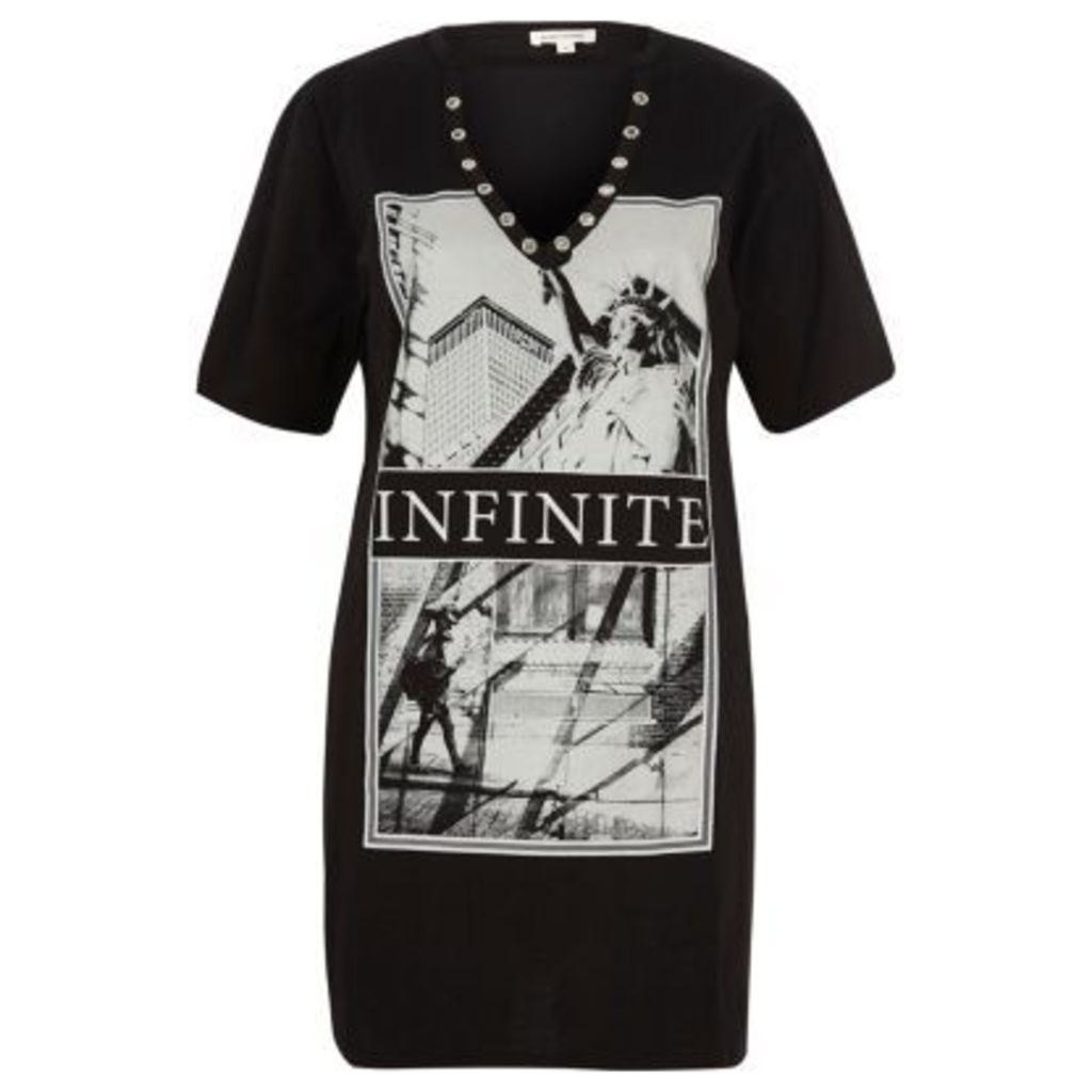 River Island Womens Black infinite print longline T-shirt