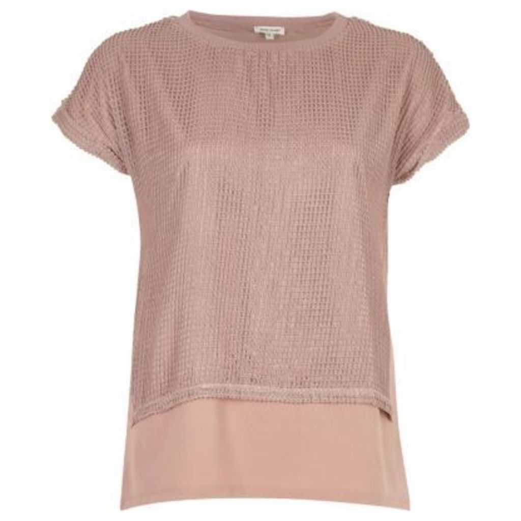 River Island Womens Light Pink mesh layered T-shirt
