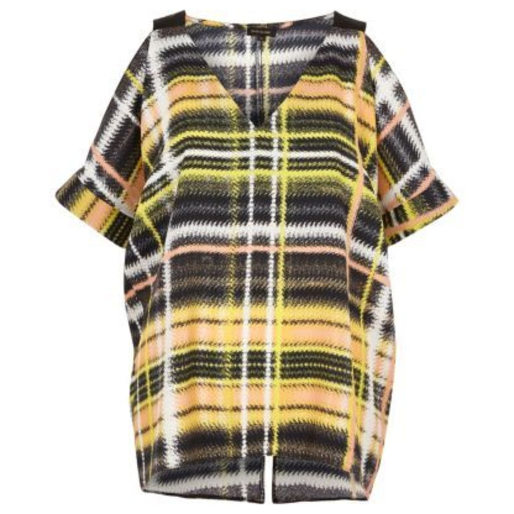 River Island Womens Yellow check print cold shoulder oversized to