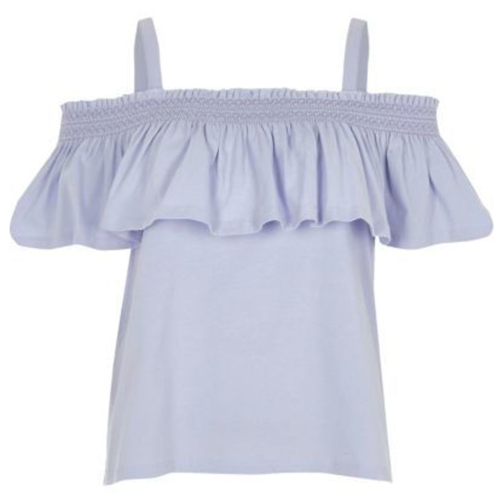 River Island Womens Blue bardot frill top