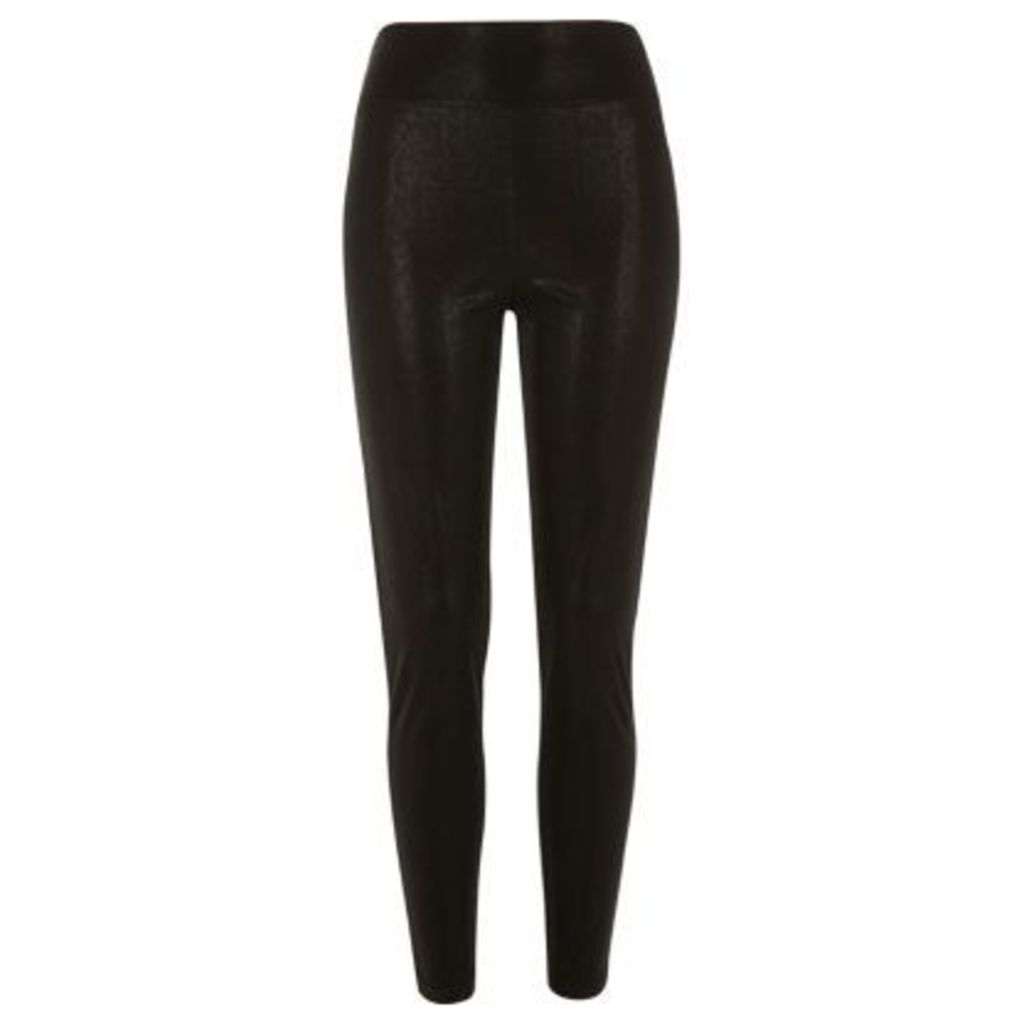 River Island Womens Black coated leggings