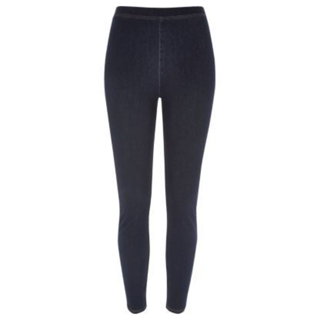 River Island Womens Dark Blue wash denim look high rise leggings