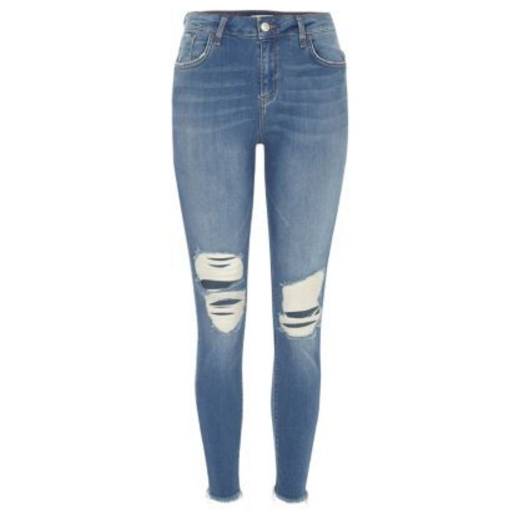 River Island Womens Blue wash ripped Amelie super skinny jeans