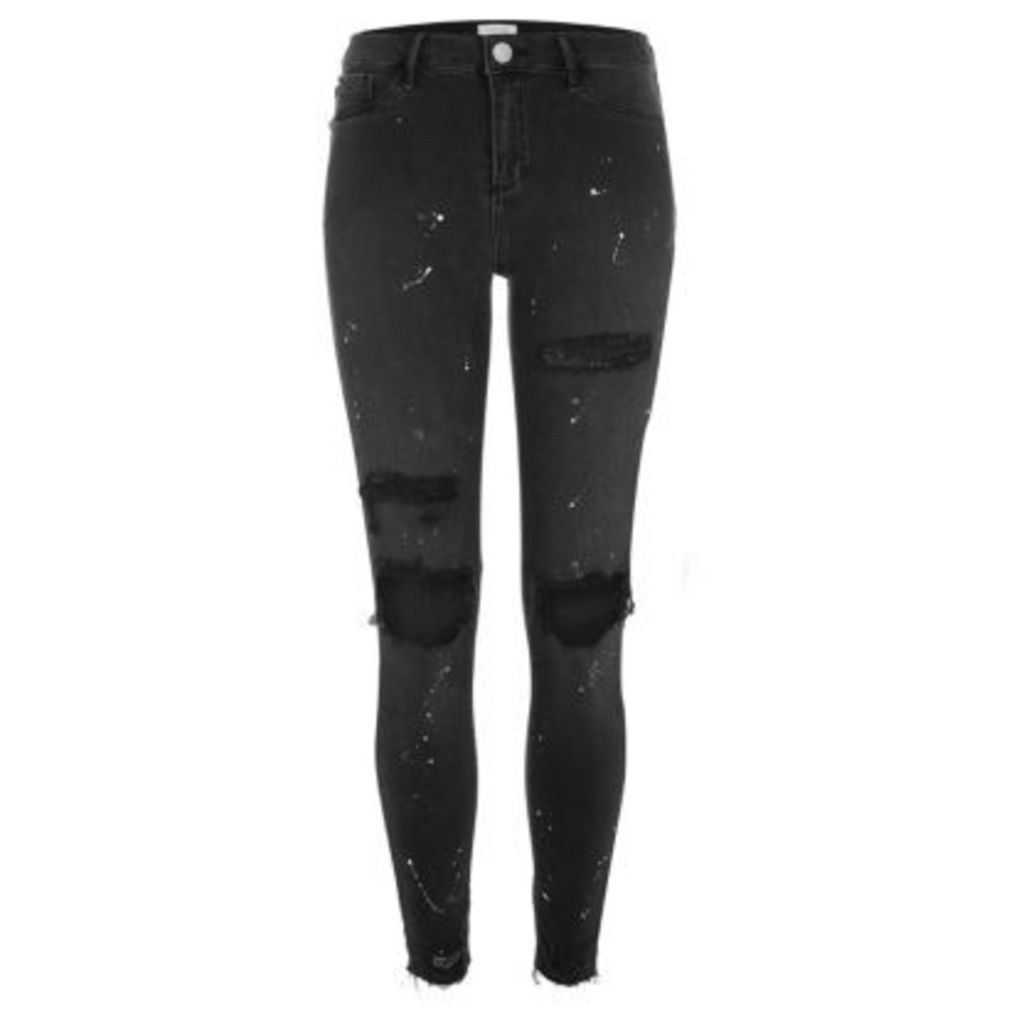 River Island Womens Black wash chewed hem paint Molly jeggings