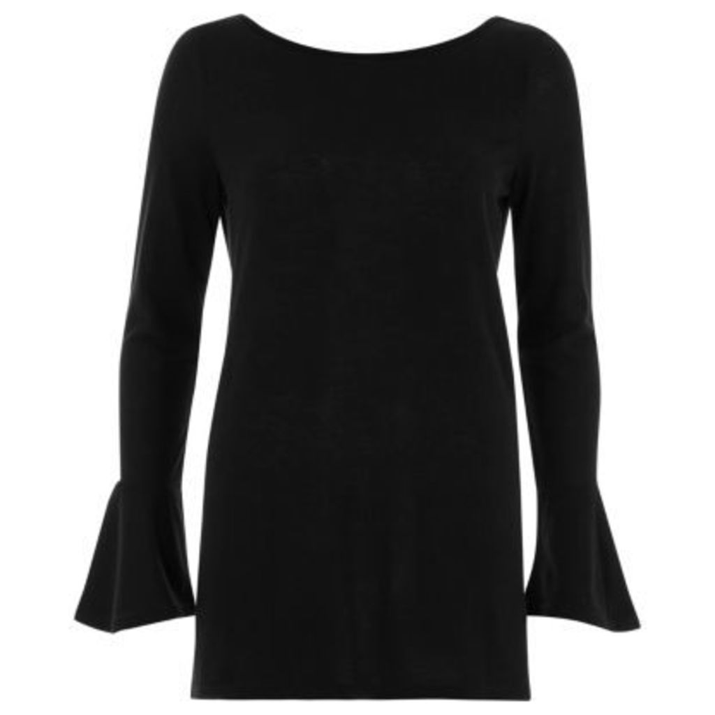 River Island Womens Black flared sleeve top