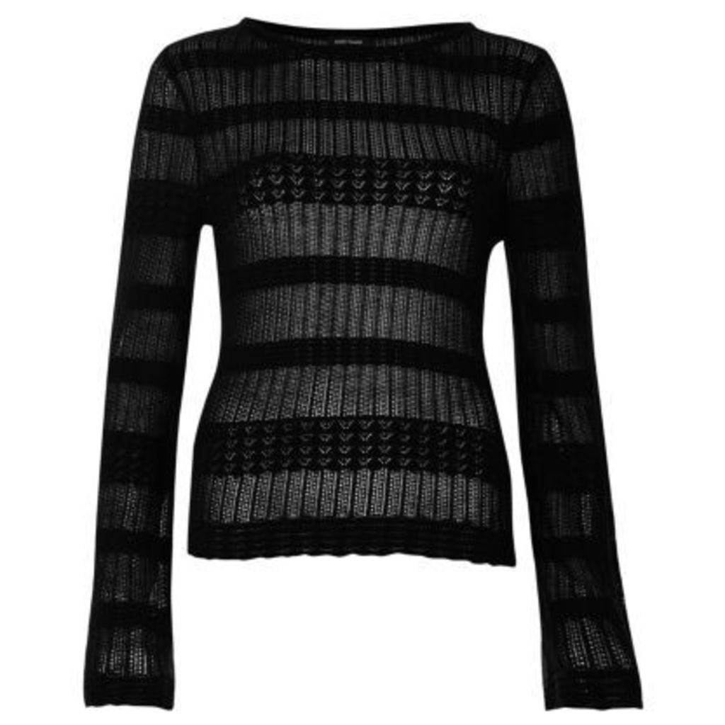 River Island Womens Black sheer panel knit jumper