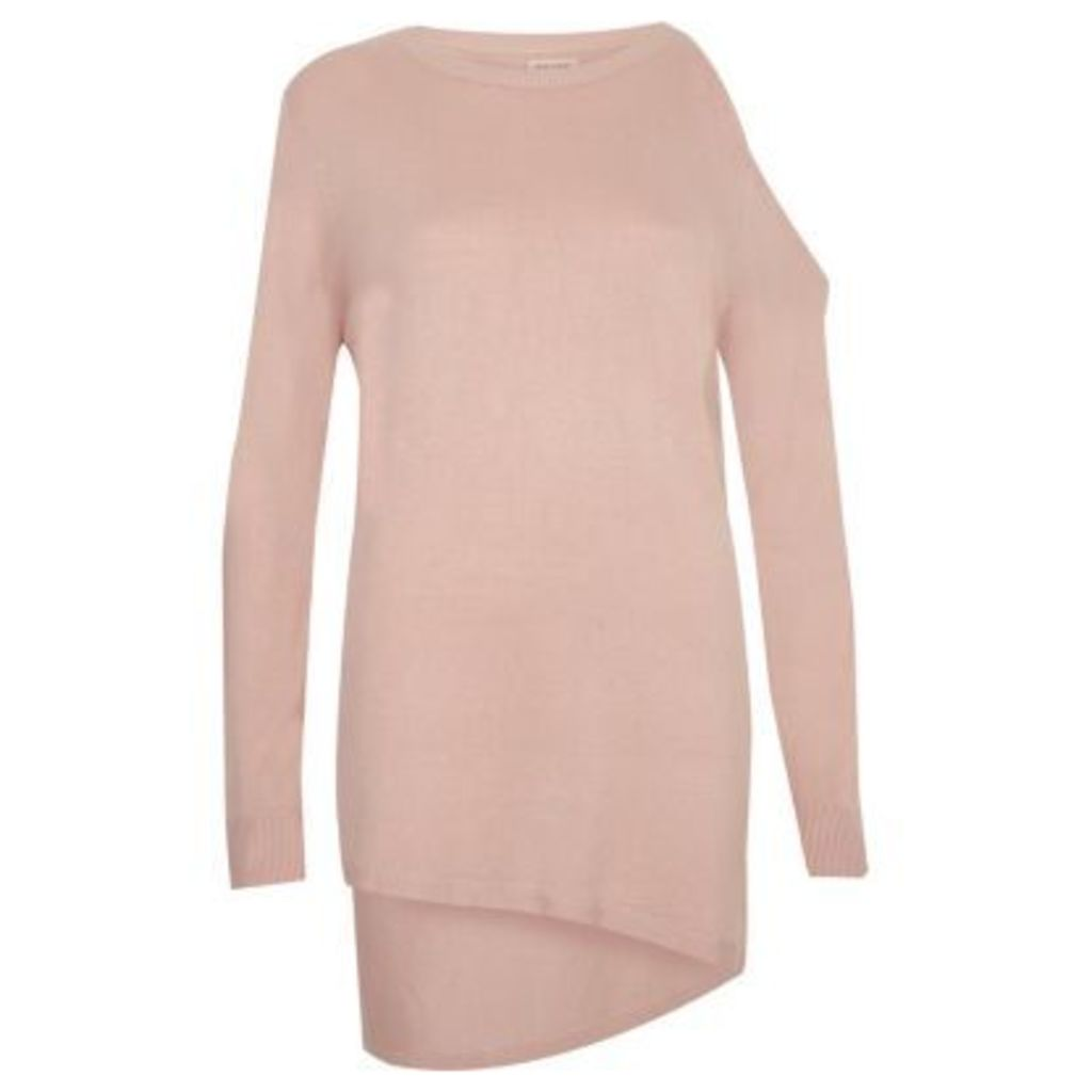 River Island Womens Blush Pink asymmetric one shoulder top