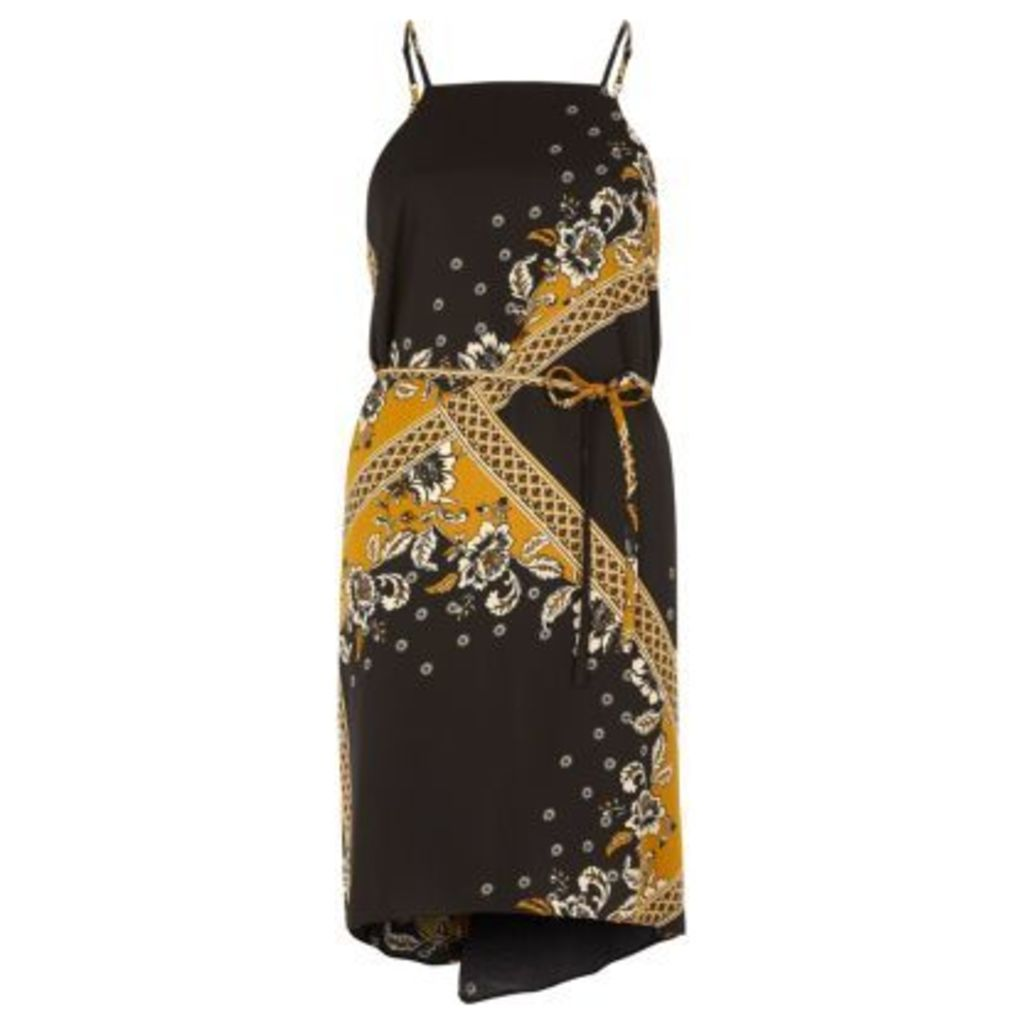 River Island Womens Yellow print string tie slip dress