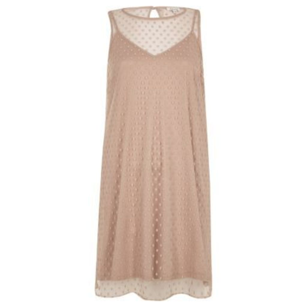 River Island Womens Nude dobby mesh sleeveless dress