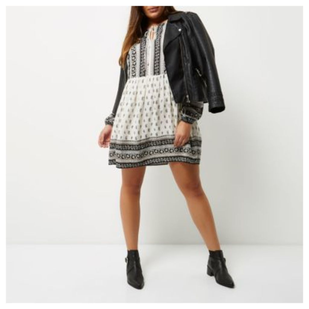 River Island Womens Plus White paisley print smock dress