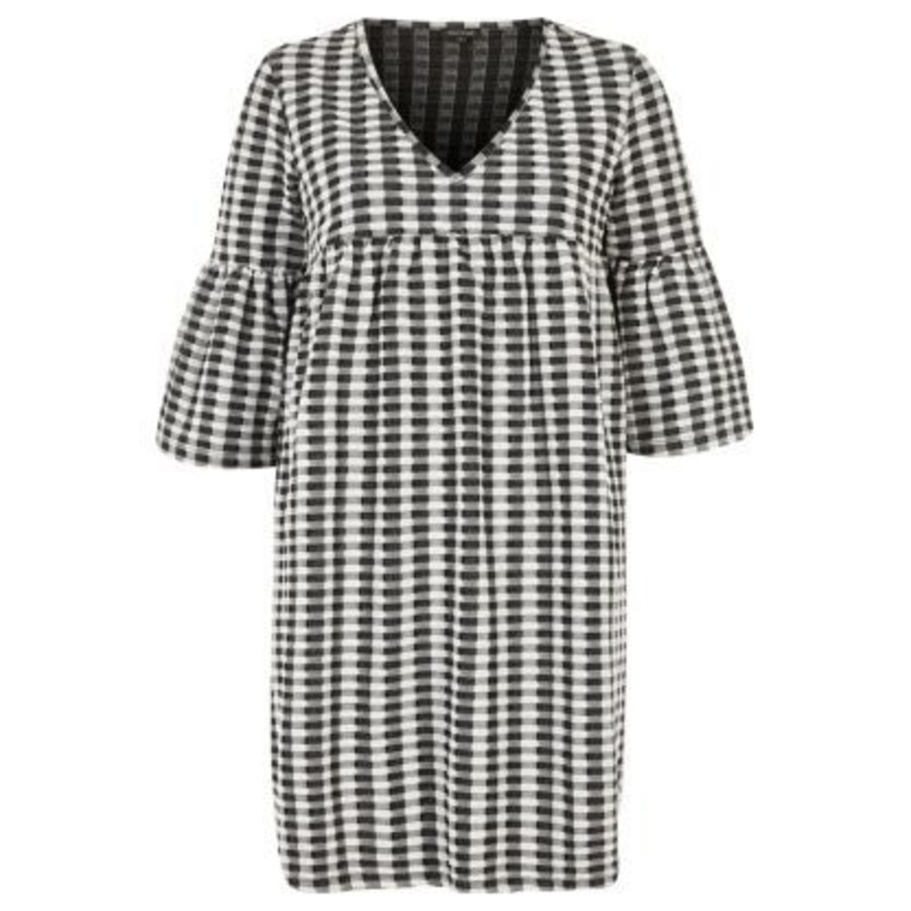 River Island Womens Black and cream gingham smock dress