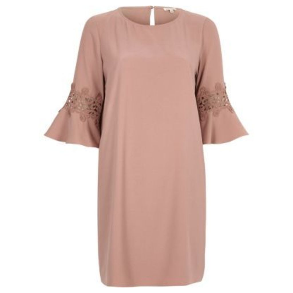 River Island Womens Pink lace cut out swing dress
