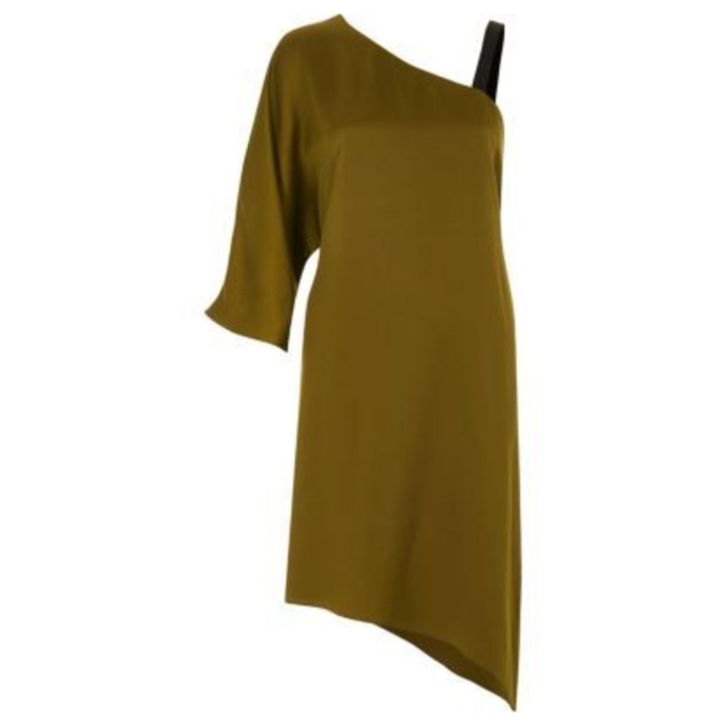 River Island Womens Khaki green asymmetric one shoulder dress