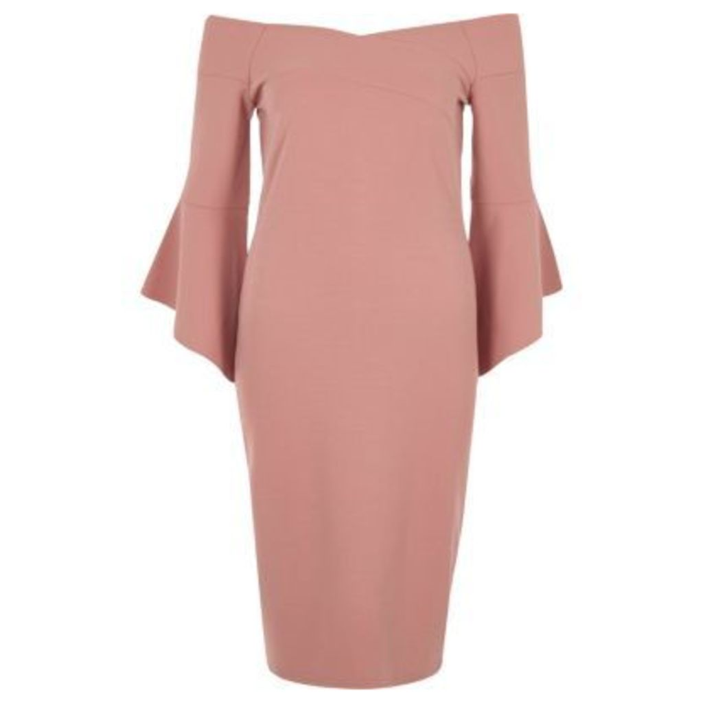 River Island Womens Pink bell sleeve bardot bodycon midi dress