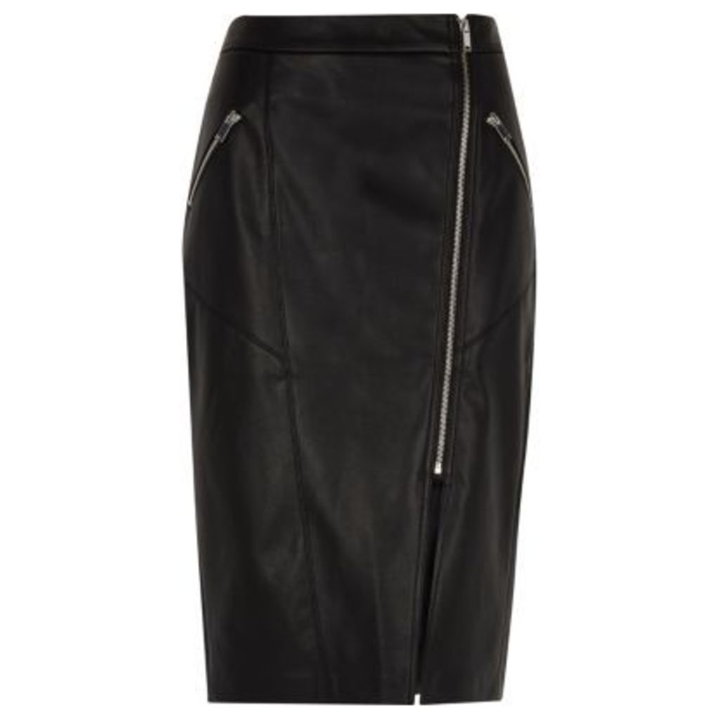 River Island Womens Black faux leather biker pencil skirt