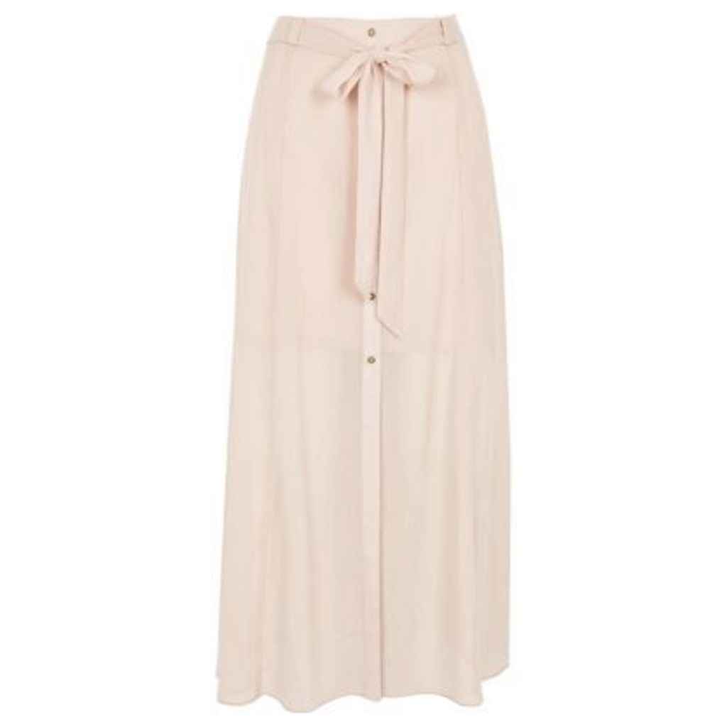 River Island Womens Light Pink sheer button through skirt