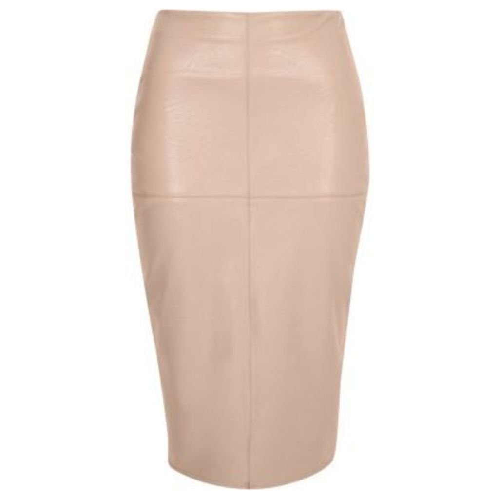 River Island Womens Nude faux leather pencil skirt
