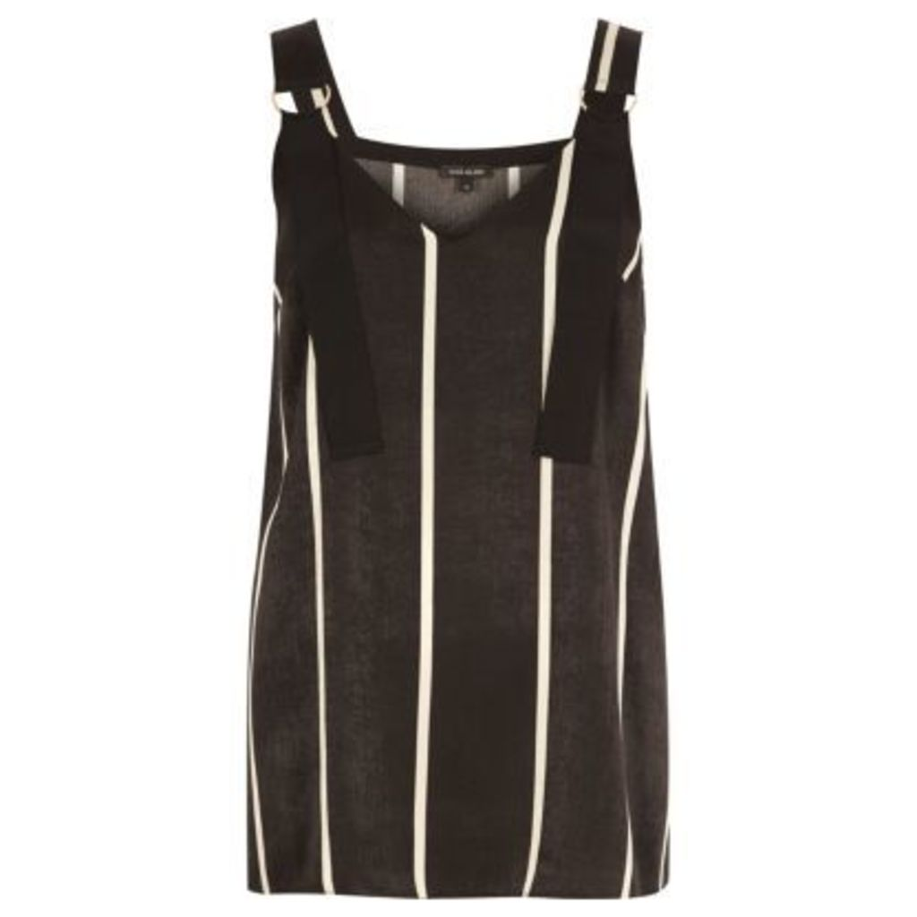 River Island Womens Black stripe D-ring strap tunic