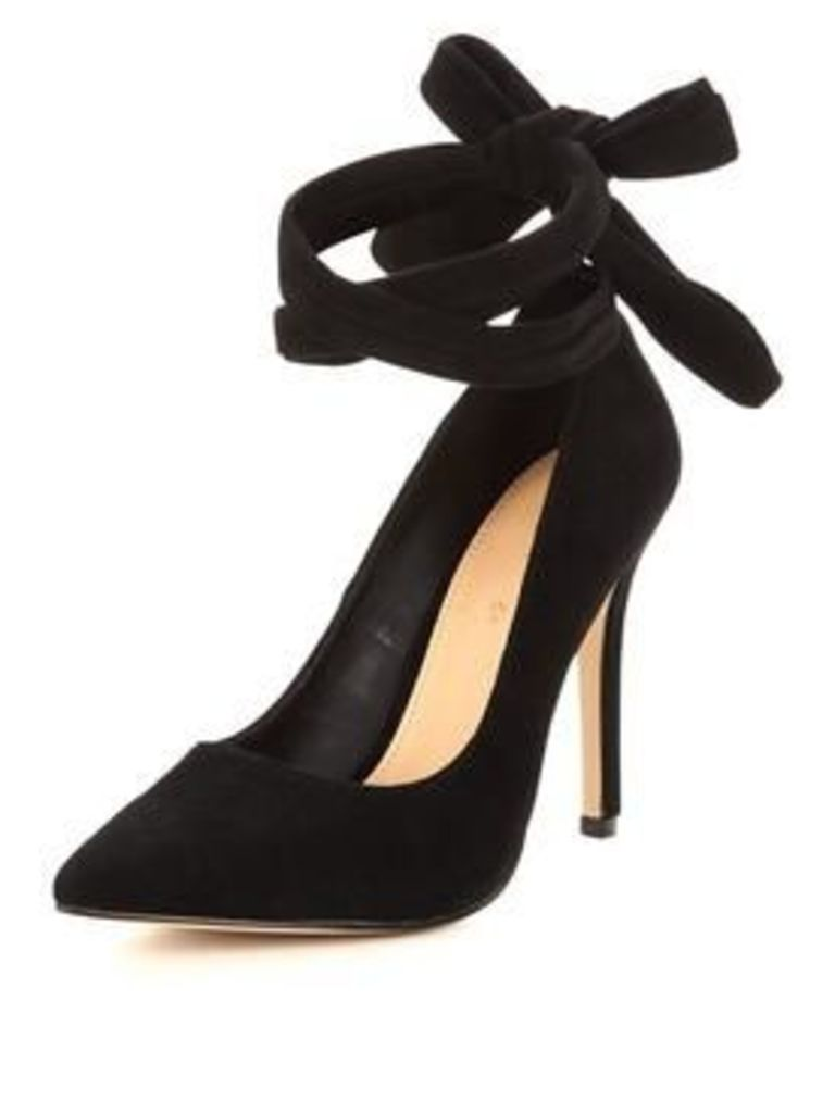 V by Very Zoe Real Suede Soft Wrapped Heeled Shoe - Black, Black, Size 7, Women
