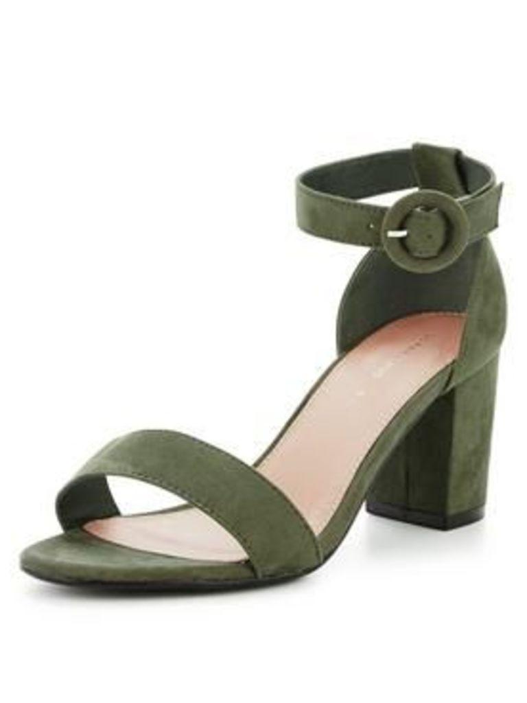 So Fabulous Extra Wide Fit Block Heeled Sandal - Khaki, Khaki, Size 6, Women