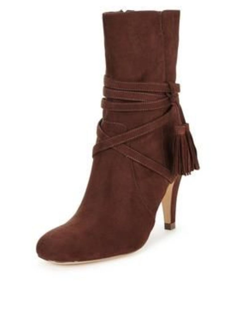 Head over Heels Head Over Heels reign tassel detail round toe calf boot, Brown, Size 8, Women