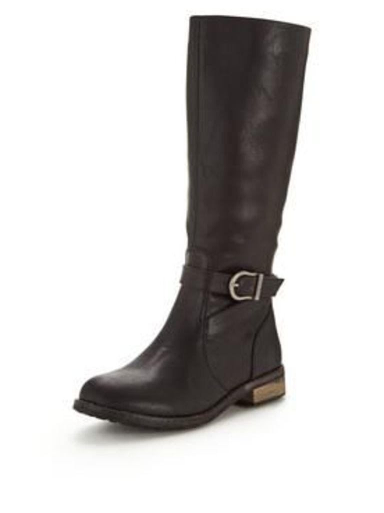 Firetrap Dressage Flat Buckled Boot, Black, Size 8, Women
