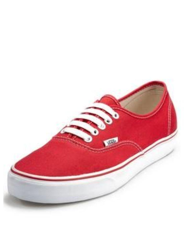 Vans Authentic Mens Plimsolls - Red, Red, Size 3, Women