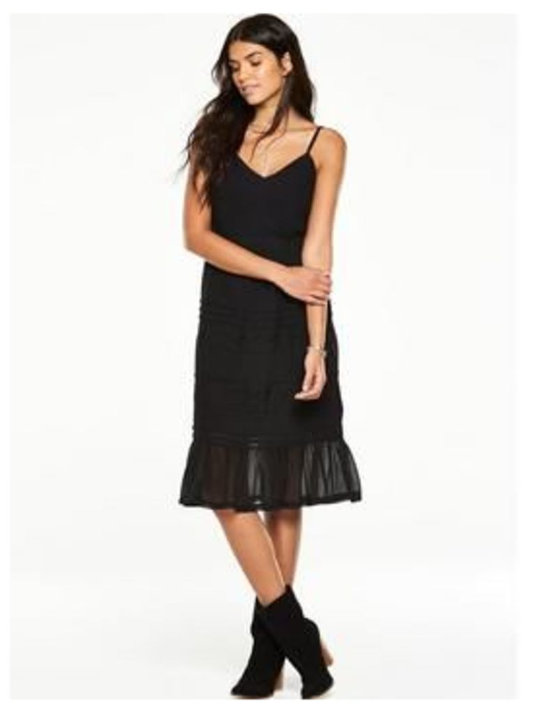 V by Very Lace Trim Midi Dress, Black, Size 8, Women