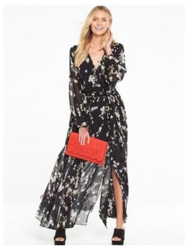 V by Very Long Sleeve Split Maxi Dress, Floral Print, Size 8, Women