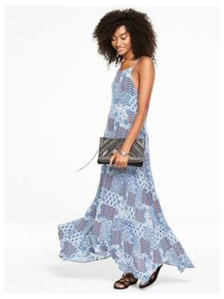 V by Very Lace Up Detail Maxi Dress, Print, Size 12, Women