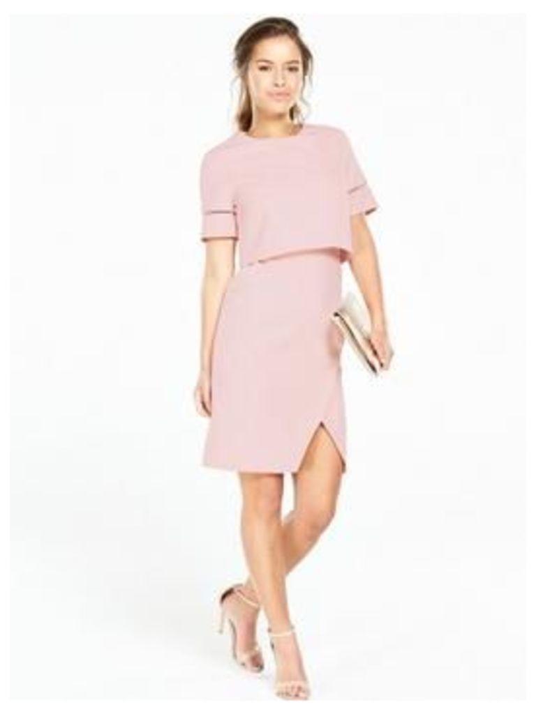 V by Very Petite PETITE Trim Detail 2 In 1 Dress - Blush, Blush, Size 6, Women
