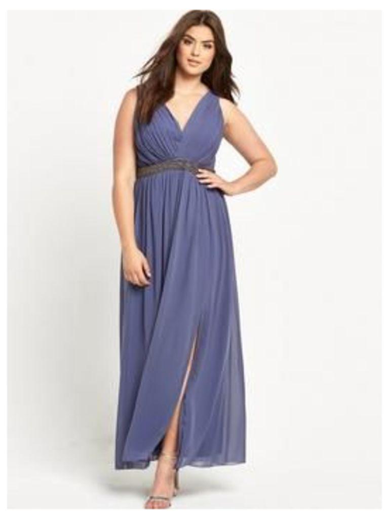 Little Mistress Curve Curve Embellished V-Neck Maxi Dress - Grey, Grey, Size 18, Women