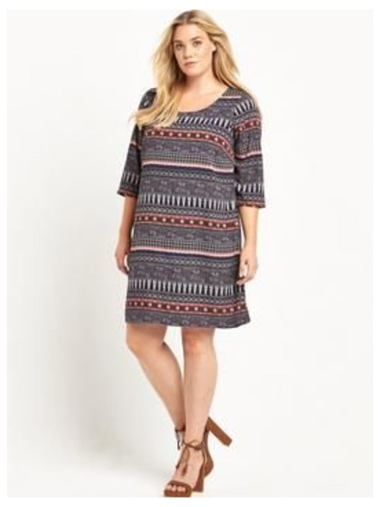 JUNAROSE Junarose curve ¾ sleeve shift dress, Print, Size 18, Women
