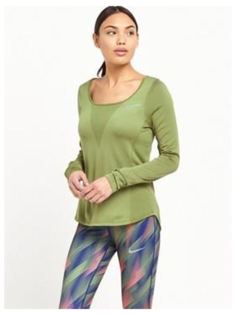 Nike Zonal Relay Long Sleeved Top, Green, Size Xl, Women