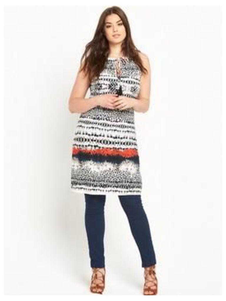 So Fabulous Tassel Tie Border Print Tunic Top, Print, Size 26, Women