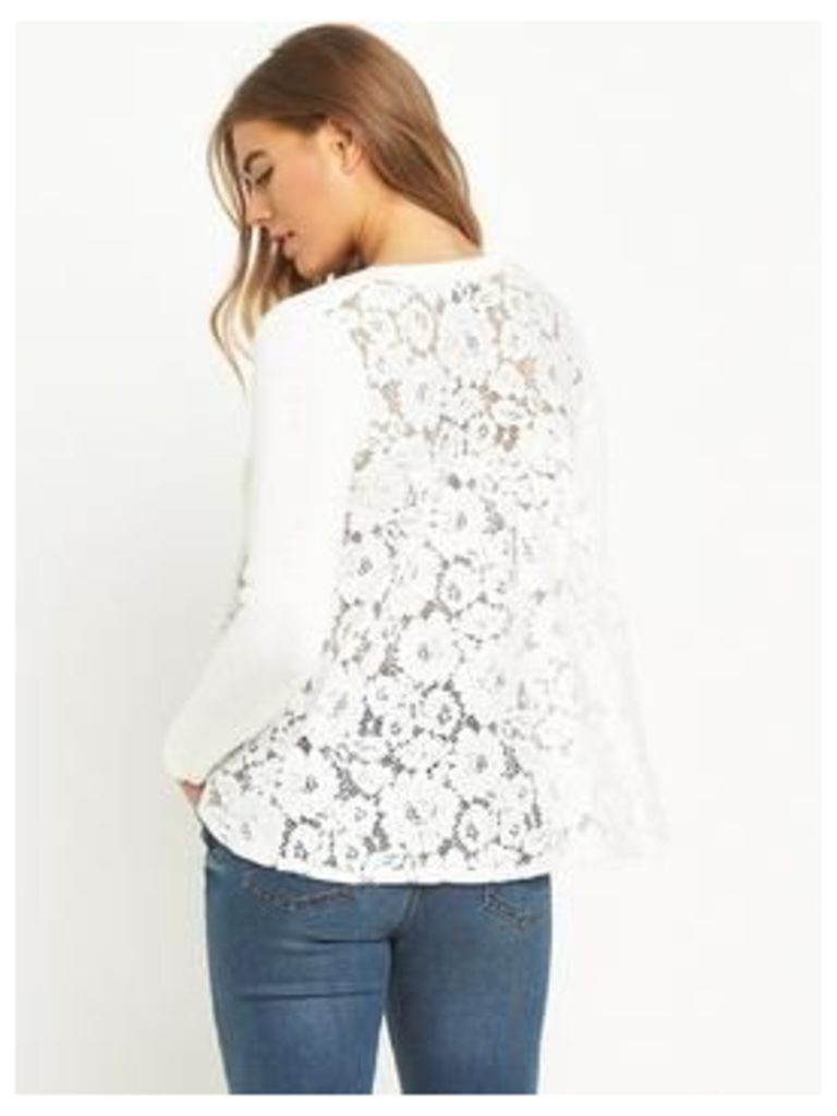 Lost Ink The Leonie Lace 2-in 1-Jumper - Off White, Off White, Size 14, Women