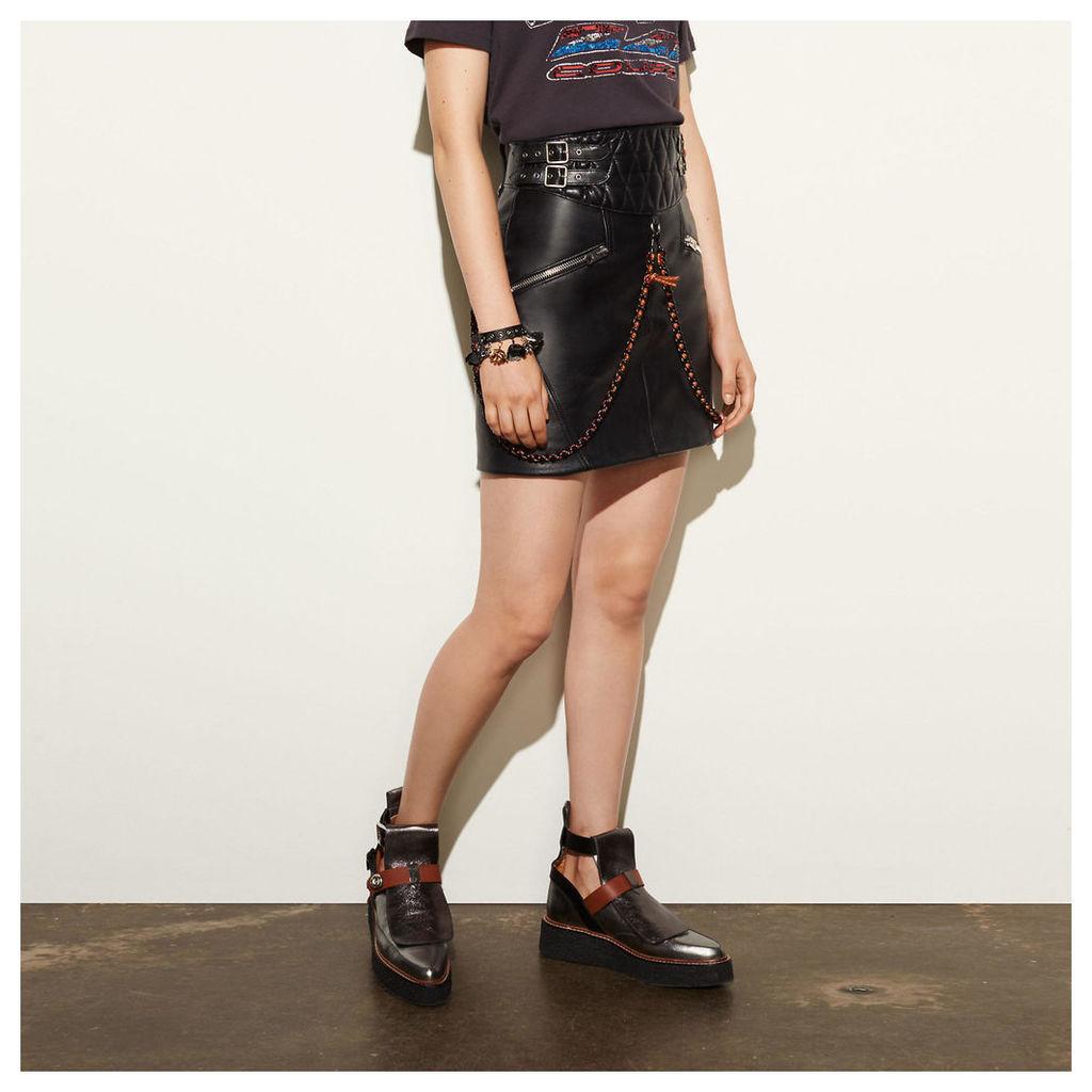 Coach Belted Moto Skirt