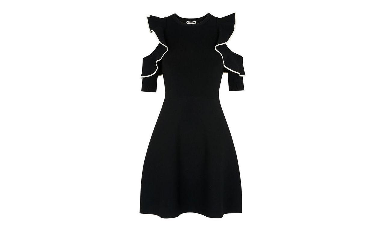 Frill Cold Shoulder Knit Dress