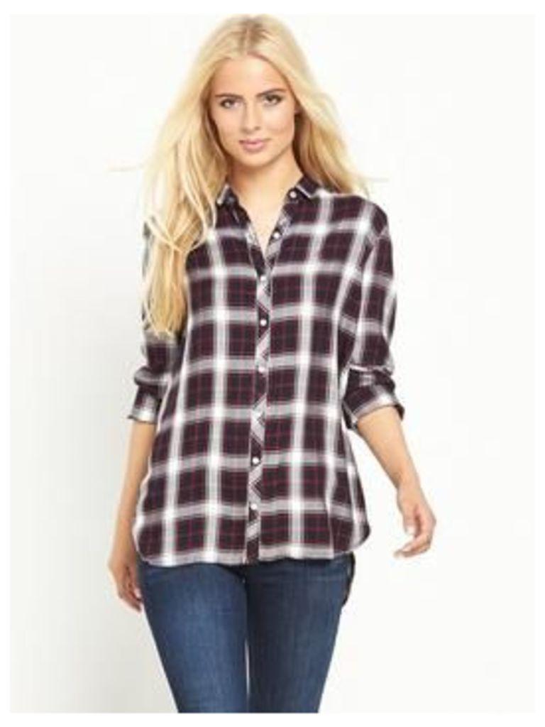 Hilfiger Denim Check Shirt, Navy Blazer/Multi, Size 8=Xs, Women