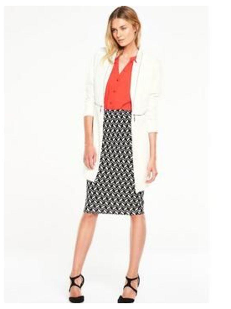 V by Very Longline Notch Jacket , Cream, Size 10, Women