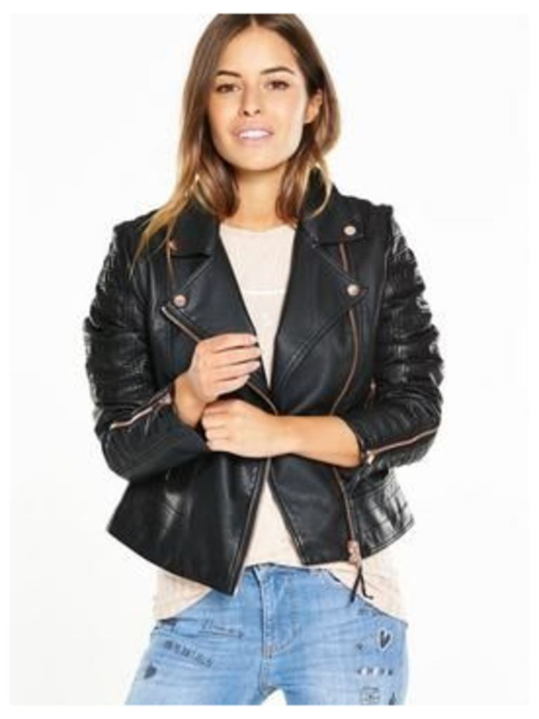 V by Very Petite PETITE Rib And Zip Detail Faux Leather Jacket, Black, Size 16, Women