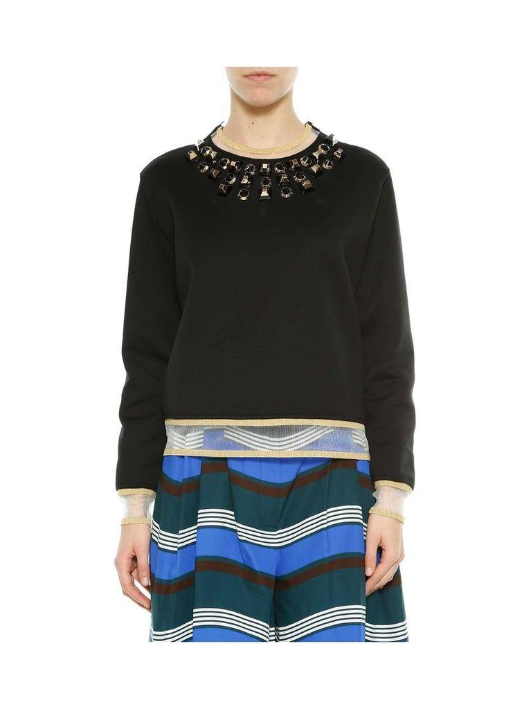 Fendi Black & gold Studs Long Sleeves Sweatshirt