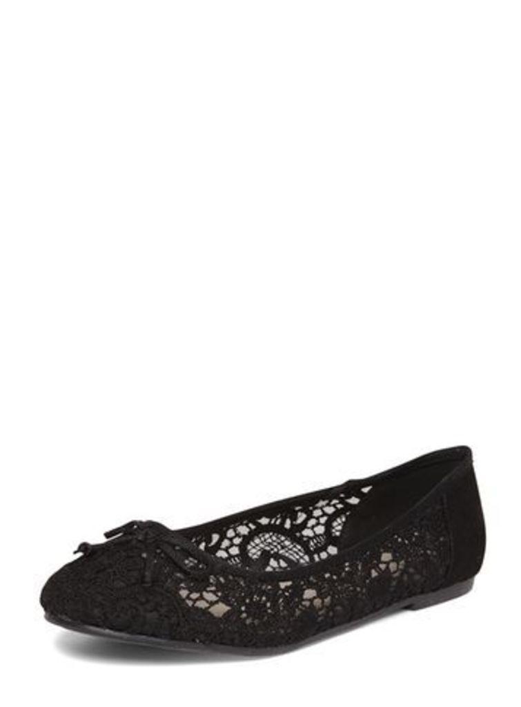 Black Lace Bow Ballet Pumps, Black
