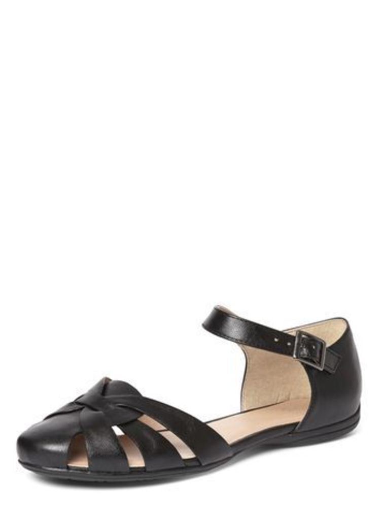 Black Two Part Comfort Sandals, Black