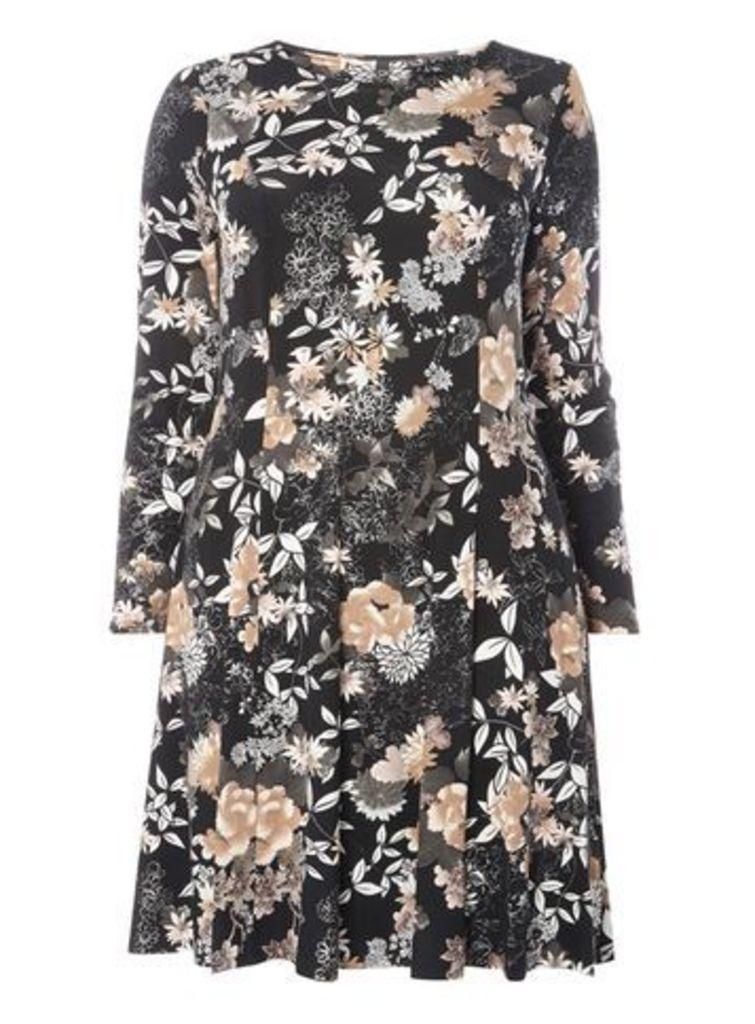 Black Oriental Print Dress, Dark Multi