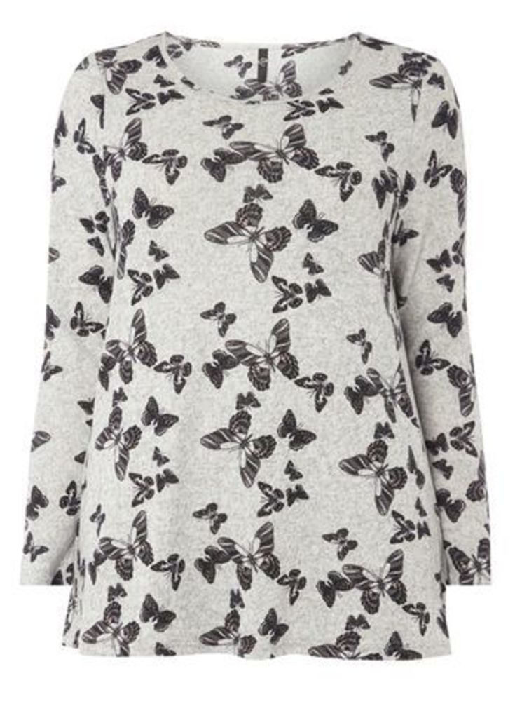 Grey Butterfly Printed Soft Touch Top, Grey