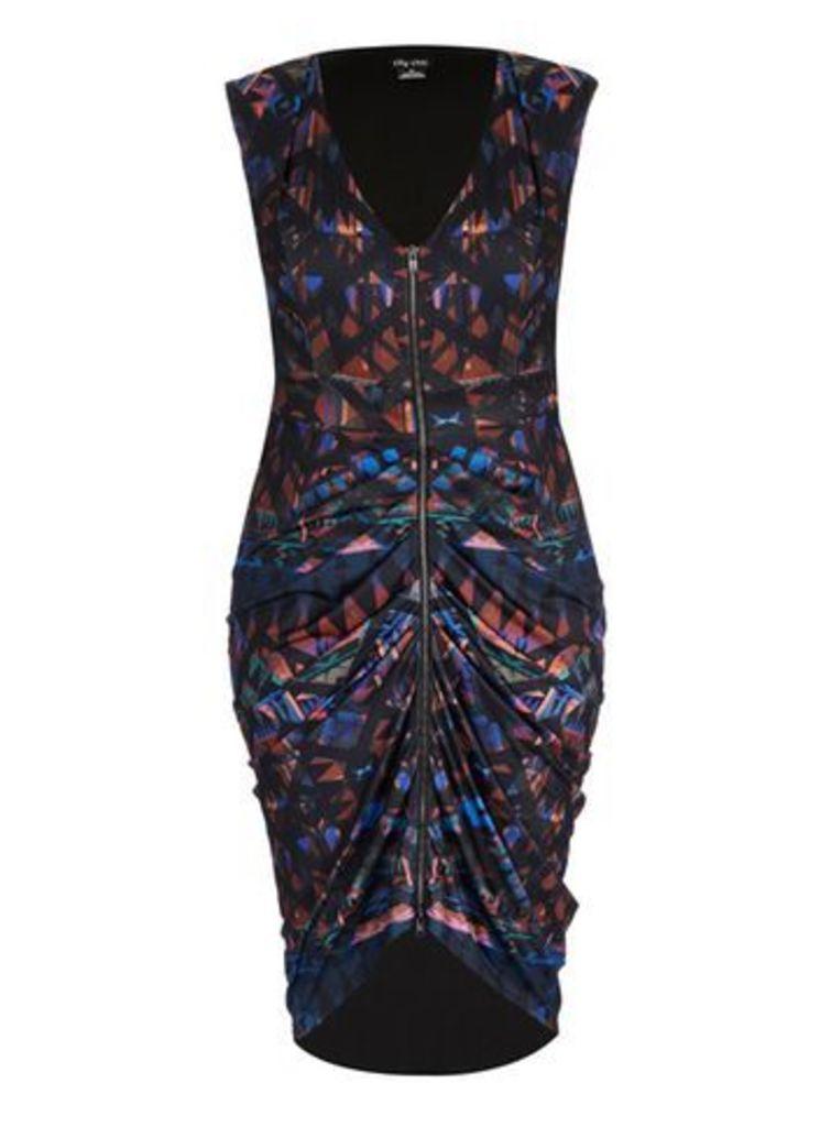 City Chic Black Geometric Print Drape Dress, Black