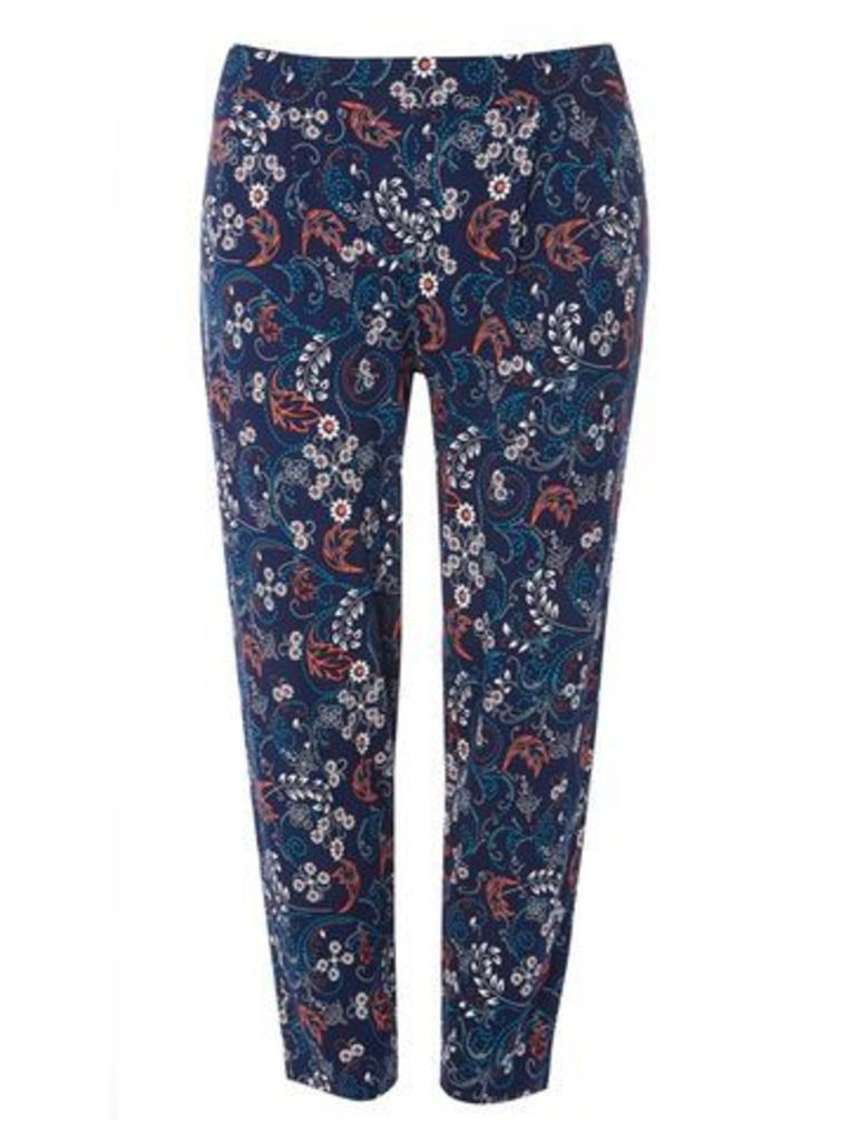 Blue Printed Tapered Trousers, Black