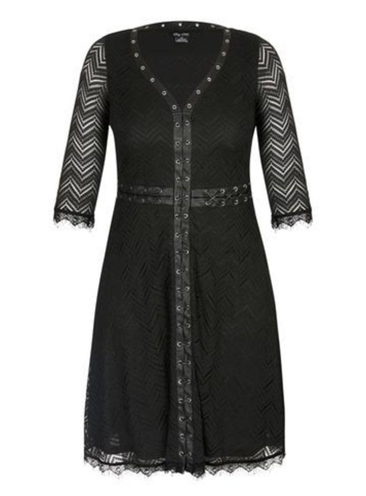 City Chic Black Lace Sleeve Dress, Black